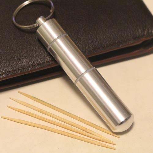 Portable Toothpick box/Stainless Steel Pocket Toothpick Holder Silver by Huss lans