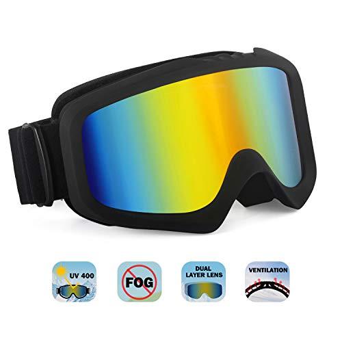 Unigear Maschera da Sci, Occhiali da Snowboard con Doppio Obiettivo 100% UV400 Produzione Anti Nebbia per Uomini, Donne e Giovani