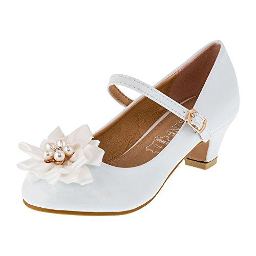 Festliche Mädchen Ballerina Pumps Schuhe mit Echt Leder Innensohle und Absatz M409ws Weiß 33
