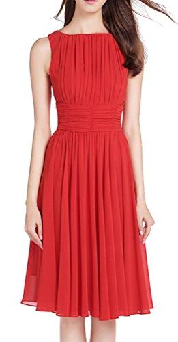 MILEEO Damen Chiffon Kleid Knielang mit Plissee-Falten Ärmellos Cocktailkleid EU38(Herstellergröße:M) Rot