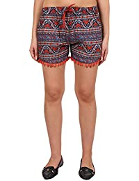 9teenAGAIN Women's Rayon Printed Night Shorts(Multicolor)