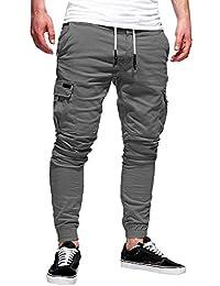 Tefamore Pantalón Chandal Hombre Pantalones Deportivos Casual  Multi-Bolsillo con Cordones Ajustado Fitness Primavera Jogging af6cea24a325