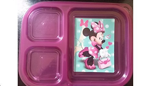 Reusable Kids Plastic Food Storage Containers with Lids 3 Compartments for Travel, School and To-go (Minnie Mouse Hot Pink) by Versatility 500