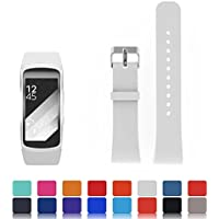 Feskio - Correa de silicona suave para reloj inteligente Samsung Gear Fit 2SM-R360(tamaño pequeño o grande), Large, Blanco