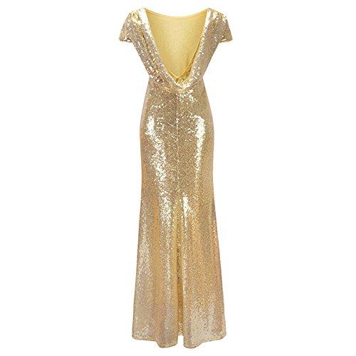 Abendkleider Am Abend Party Club elegante Pailletten Kleider Frauen Ballkleid New Gold Pailletten Rückenfreies seitlichen RV langen Maxi Vestidos Festival, ein, XL - 4