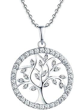 YL Halskette Baum Des Lebens-925 Sterling Silber Kette mit Zirkonia Familienstammbaum Anhänger Schmuck für Damen...