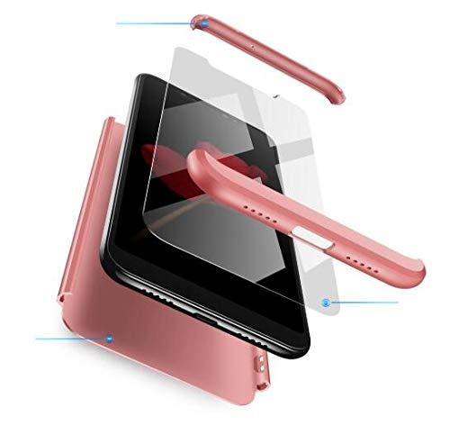 AKC Funda Compatible Xiaomi Mi MAX 2 con 360°Todo Incluido Anti-Scratch, con 2 * HD Vidrio Templado Carcasa Case,Ultra Fina 3 en 1 Hard PC Caja Cover Resistente al Desgaste-Oro Rosa