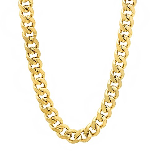 6mm 14k Gold Plated Miami Cuban Link Chain Necklace, 91 cm