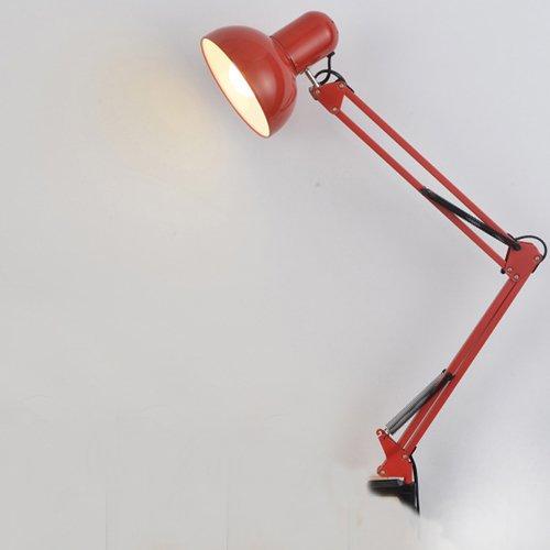E27-socket-clamp (JDYee Swing Arm Schreibtischlampen, Tischlampe, Regular E27 Socket, Clamp montiert, verstellbare Schreibtischleuchten für Wohnzimmer Studio Study Office Reading Coffe Schlafzimmer - Rot)