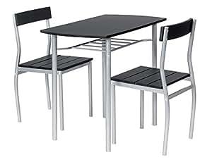 ts ideen essgruppe 3 teilig alugestell mdf tisch 82 x 50cm f r die k che esszimmer. Black Bedroom Furniture Sets. Home Design Ideas