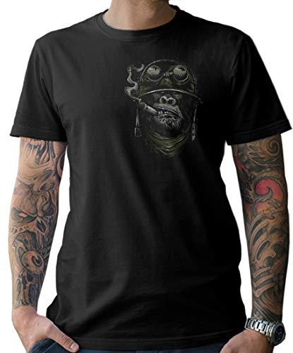 NG articlezz Herren Biker T-Shirt - AFFE Gorilla Monkey Kultiges Kurzarmshirt für die Motorradfahrer unter Euch Gr. S - 5XL mit Front- und Rückenprint