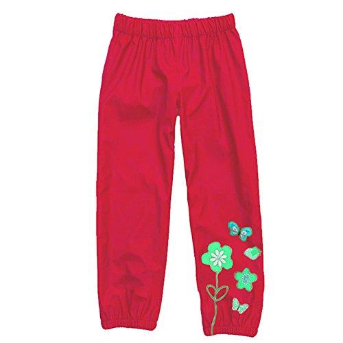 KINDOYO Kids Childrens Waterproof Rain-Suit Pants Over Trousers, Boys and Girls Rainwear For Outdoor Play Red
