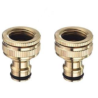 Topways® 2X Hahnverbinder Anschluss für Wasserhähne mit Gewinde, 1/2 '' 3/4 '' BSP 2in1 Messing Tap Connector Faucet Adapter Garten Hahnverbinder Wasserhahn Anschluss für Wasserhähne mit Gewinde