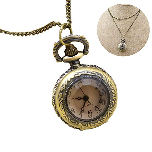 Xiton 1PC Classic Pocket Watch Vintage Roman Numerals Scale Quarz Pocket Watch mit Chain Retro Pendant Necklace Watch Gift for Men & Women (Brown)