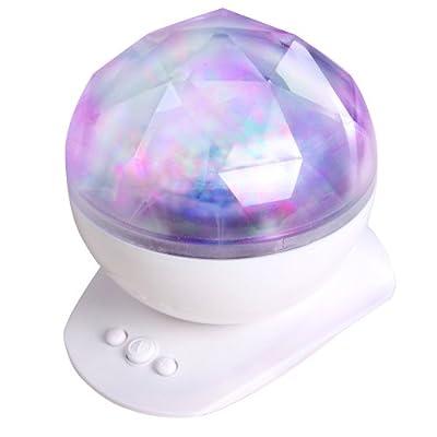 Songmics Nachtlicht Tischleuchte Mit Polarlicht-effekten Laser-kugel-lampe Lautsprecher Fsl007