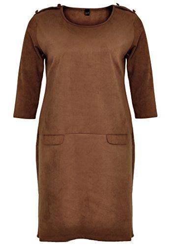 Yoek Damen Übergrößen Kleid Wildlederoptik Braun