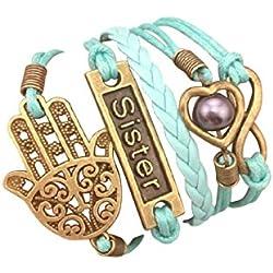 STRASS & PAILLETTES Bracelet Sister Bleu Turquoise Main de Fatma. Coeur et Perle d'amour. Lien Infini. Cadeau Soeur Meilleure Amie