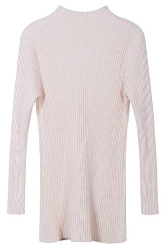 Vogueearth Donna's Lungo Manica Knit Slim-Fit Turtleneck Lungo Pullover Maglieria Sweater Beige
