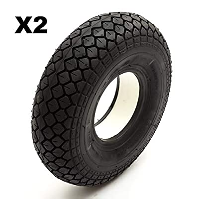 2 Solid PU Tyre 4.00-5 Black Puncture Proof Fits Mobility Scooter Diamond Block Tread 5 Inch Rim