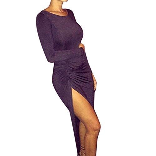 QIYUN.Z Femmes Automne Solide Couleur Svelte Furcal Robe Longue Plissee Manches Longues Backless Noir