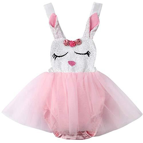 chen Osterhasen Outfits Kaninchen Ostern benutzerdefinierte Strampler Tutu Einteiliges Kleid Bodysuit (6-12 Monate/80) ()