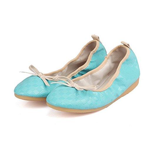 AllhqFashion Damen Rein Pu Leder Niedriger Absatz Rund Zehe Ziehen Auf Flache Schuhe Blau