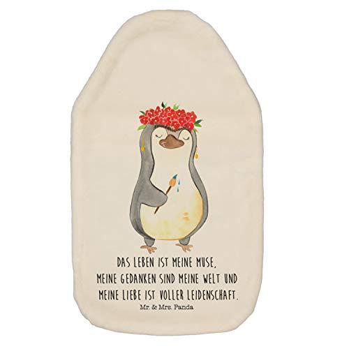 Mr. & Mrs. Panda Körnerkissen, Wärmekissen, Wärmflasche Pinguin Frida Kahlo mit Spruch - Farbe Weiß