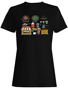 Novedad divertida de los elementos de la cafeteria camiseta de las mujeres b500f