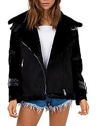 9a5e595824e31d Simplee Apparel Damen Fur Jacke Winter Elegant Warm Oversized Suede  Wildleder Jacket Coat Mantel