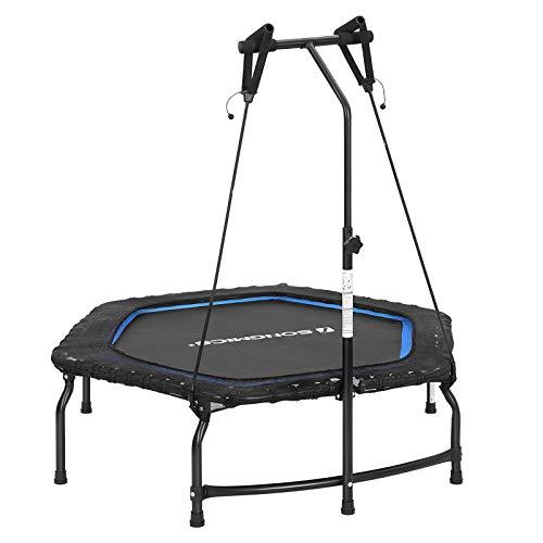 SONGMICS Fitness-Trampolin, 128 x 110 cm, Mini Indoor Trampolin faltbares mit verstellbarem Griff für Erwachsene, Widerstandsbänder mit Handgriffen, bis 120 kg belastbar, blau-schwarz STR44BUV1