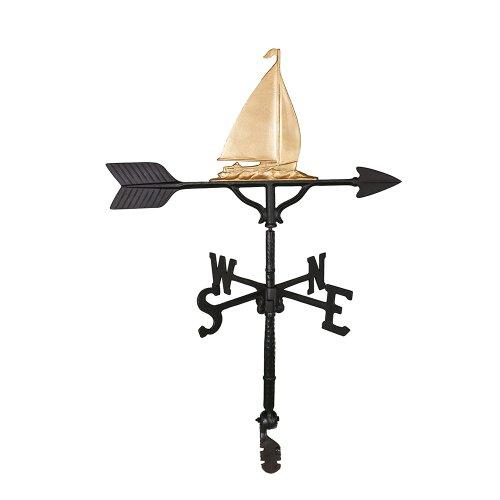 Montague Metal Products Wetterfahne mit goldfarbenem Segelboot, 81 cm (Wetterfahne Nautische)