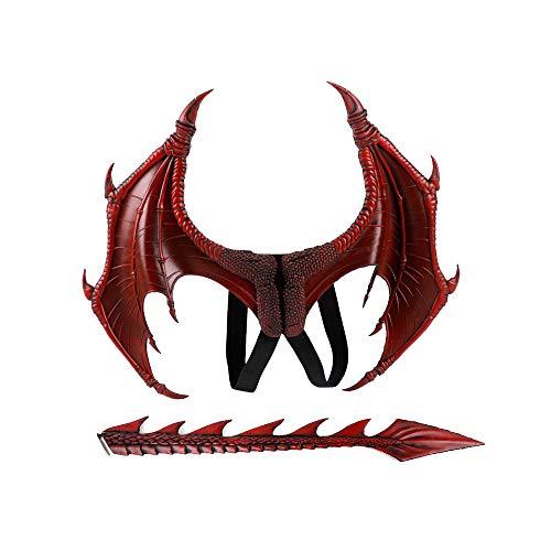 Kinder Roter Drache Kostüm - BaronHong 2-teiliges Halloween Karneval Drachenkostüm für Kinder - Flügel, Schwanz (rot, M)