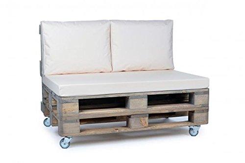 Palettenkissen, Gartenmöbel Auflagen, Sitzbankauflage, Matratzenauflagen auch m. Rückenlehne bzw. Dekokissen in Nylon, creme, wasserabweisend und strapazierfähig