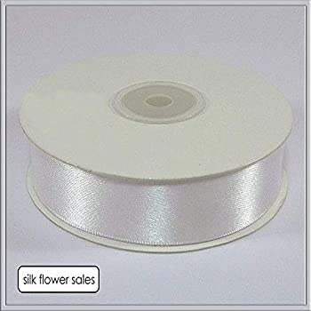 "1 metre of 50mm 2/"" wide Best Quality Double Sided Faced Satin WHITE Shade 01"