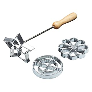 SWEDISH ROSETTE AND COOKIES IRON SET MOULDS STAR CIRCLE FLOWER