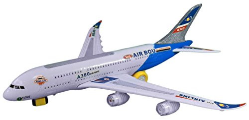 Toyze A380 Avión Airbus Modelo Juguete con Bonitas Luces Intermitentes y Música Fuerte, Acción Bump y Go
