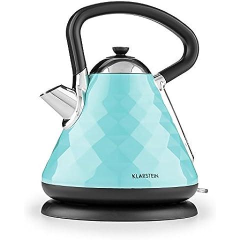Klarstein Curacao Azur hervidor de agua eléctrico (1,7 litros, 2.200 W, asa cool-touch, base 360°, filtro de cal extraíble, diseño moderno piramidal, acero inoxidable) -