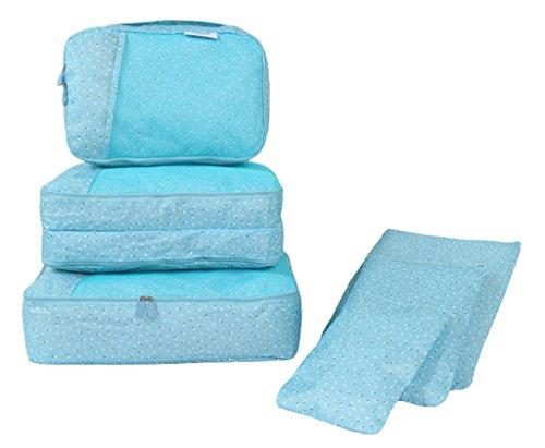 COMVIP 6-Teiliges Set Wäschebeutel Kofferorganizer Kleidertaschen Packtaschen Kofferorganizer Reisetaschen Pink Blüte Blau Blüte