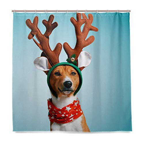 Bad Set Duschvorhang mit Haken Elefant Polyester Hund Weihnachten Hirsch Kostüm 72x72 Zoll wasserdicht für den täglichen Gebrauch - Hirsch Kostüm Für Hunde