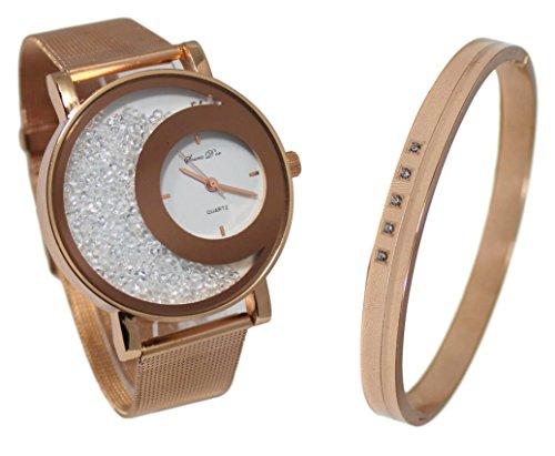66efe3a0b47 Coffret montre femme gold rose cristal maille milanaise et bracelet jonc  cuivré Collection dolce vita