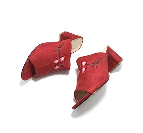 Sandales Mme Pantoufles Sandales Occasionnels Red