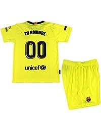 FC Conjunto Camiseta y Pantalón Personalizable Segunda Equipación Infantil  Barcelona Producto Oficial Licenciado Temporada 2018- 12a3ebf585a