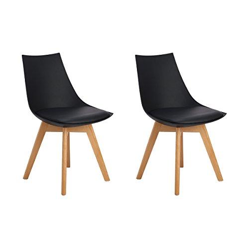 H.J WeDoo Set de 2 sillas de Comedor escandinava, Acolchado Suave y Madera Haya, Estilo nordico - Negro