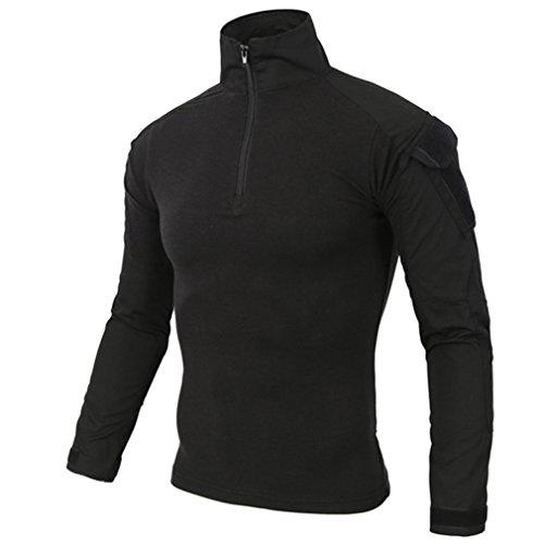 emansmoer Herren Stehkragen Langarm 1/4 Zip Pullover Tops Armee Militär Combat Taktisch Outdoor Sport Quick Dry T-Shirt Tee (Medium, Schwarz) 1/4 Zip Pullover Top