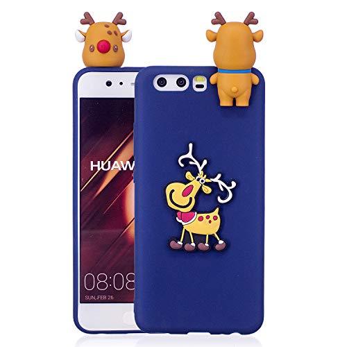 HengJun Für Huawei P10 Weihnachtsserien-Kasten-Abdeckung, Weisekühlen Karikatur-Netter stoßfester Gummi-Kasten für Huawei P10 - Weihnachtselch-Blau