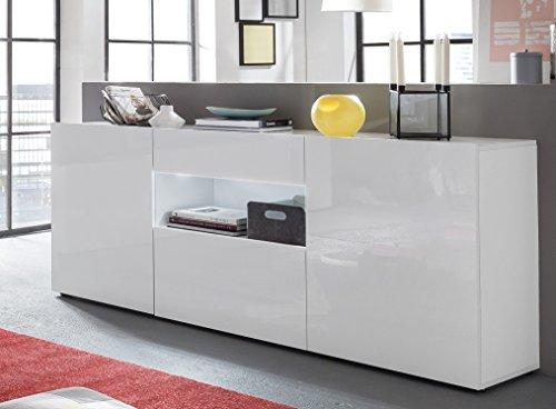 Kommode / Sideboard mit Türen und Schubkasten in Hochglanz Weiß lackiert 182x82x42cm / Trendtream