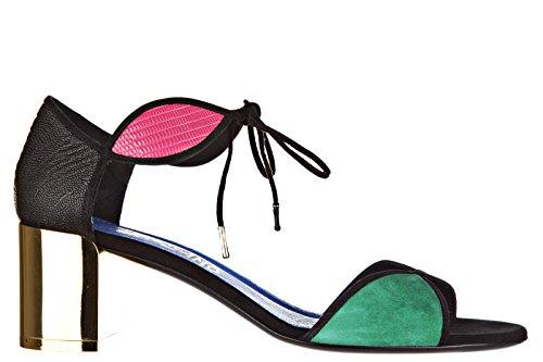 Salvatore Ferragamo sandales femme à talon en cuir fizzy noir Noir