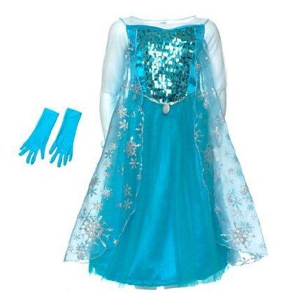 Disney original - Rubies Kinder Mädchen Glanz Kostüm Eiskönigin ELSA mit Handschuhen - Alter 5 -6 (Handy Kostüm Manny)