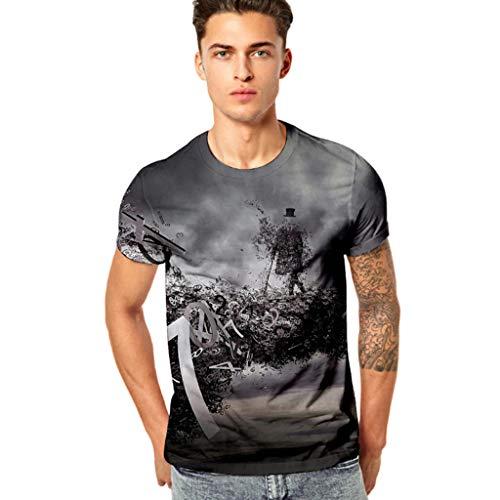 MORCHAN Homme Impression 3D Casual drôle Hommes de Remise en Forme élastique à Manches Courtes T-Shirt Haut Chemisier