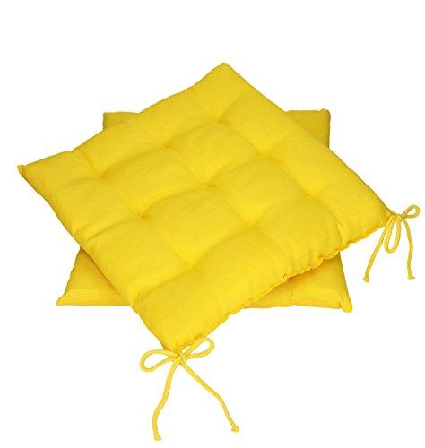 Betz Stuhlkissen Sitzkissen mit Bindebändern SUMMER 40x40 cm Farbe gelb Menge 2 Stück